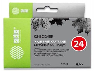Картридж BLACK 9.2ML CS-BCI24BK CACTUS