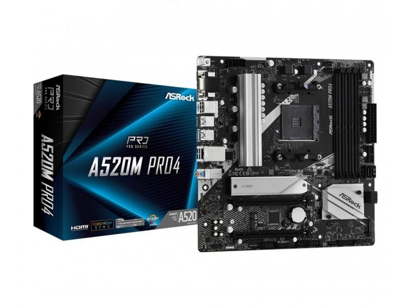 Материнская плата AMD A520 SAM4 MATX A520M PRO4 ASROCK