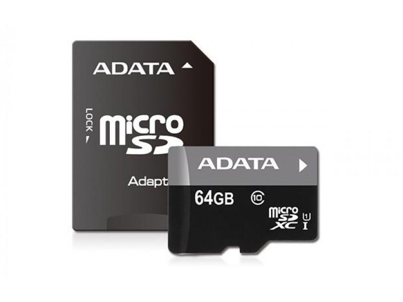 Карта памяти MICRO SDXC 64GB CLASS10 W/AD AUSDX64GUICL10-RA1 ADATA