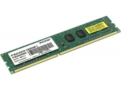 Модуль памяти 2GB PC12800 DDR3 PSD32G160081 PATRIOT