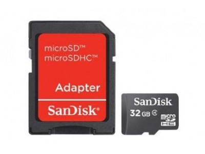 Карта памяти MICRO SDHC 32GB W/ADAPT CL4 SDSDQM-032G-B35A SANDISK