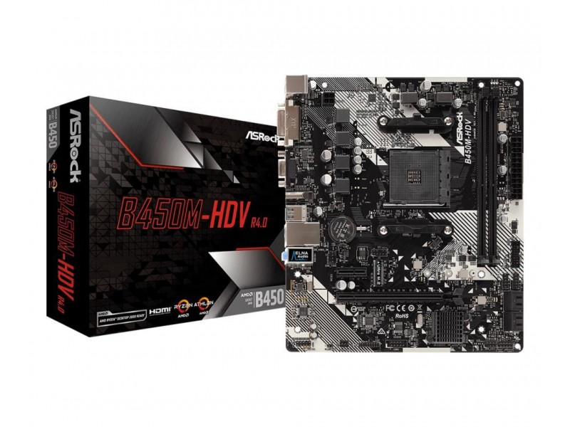 Материнская плата AMD B450 SAM4 MATX B450M-HDV R4.0 ASROCK