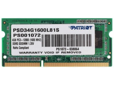 Модуль памяти для ноутбука 4GB PC12800 DDR3L SO PSD34G1600L81S PATRIOT