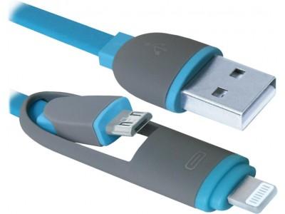 Кабель LIGHTNING+MICRO USB TO USB2 USB10-03BP 87487 DEFENDER