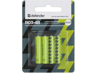 Батарея CARBON ZINK AAA 1.5V R03-4B 4PCS 56102 DEFENDER