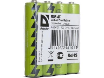 Батарея CARBON ZINK AAA 1.5V R03-4F 4PCS 56101 DEFENDER