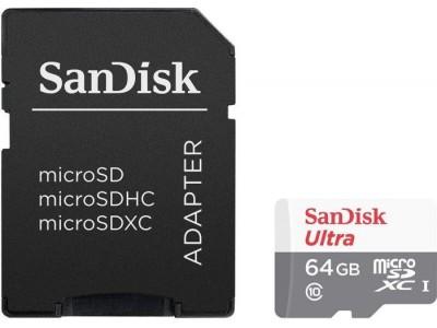 Карта памяти MICRO SDHC 64GB UHS-I W/A SDSQUNS-064G-GN3MA SANDISK