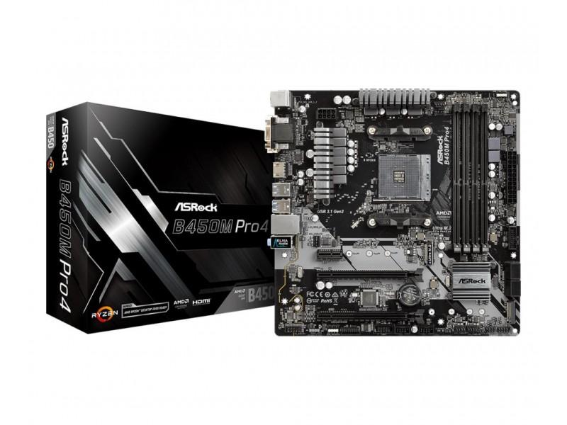 Материнская плата AMD B450 SAM4 MATX B450M PRO4 ASROCK