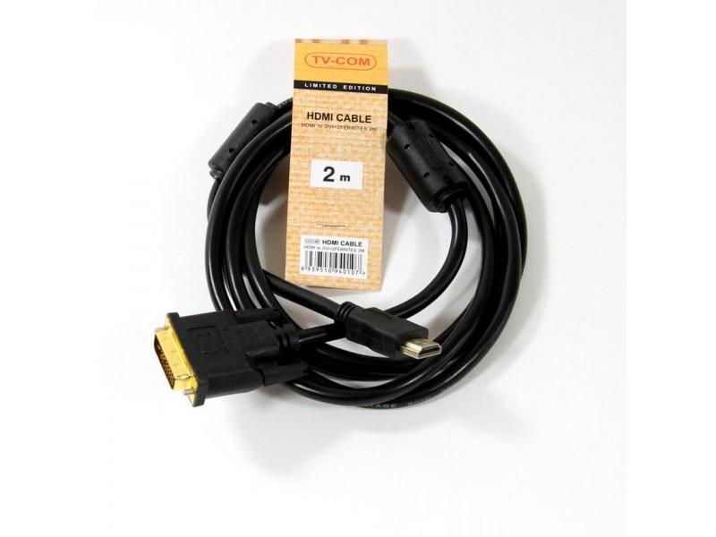 Кабель а/в TVCOM 2m м HDMI to DVI-D (19M -25M) LCG135F-2M